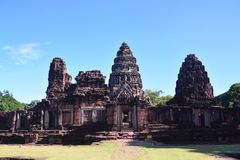 Auf der Straße zu Angkor: Phimai-Tempel - Thailand stockbild
