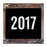 2017 auf der Weinlesetafel lokalisiert auf weißem Hintergrund Lizenzfreie Stockfotos