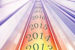 Auf der Zeitachse, das Ende 2013 und den Anfang 2014 gedruckt anzuzeigen Stockbild