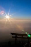 auf die Oberseite von mt Fuji mit Aufflackern Stockbild