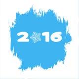 2016 auf einem blauen Hintergrund mit Schneeflocken und in einem Rahmen des Frosts Lizenzfreie Stockbilder