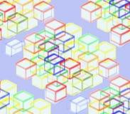 Auf einem blauen Hintergrund von farbigen Quadraten Lizenzfreies Stockbild