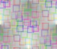 Auf einem Grauhintergrund gemalt mit farbigen Quadraten Stockbild