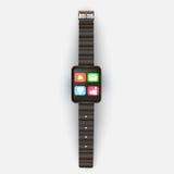 Auf einem hellgrauen Hintergrund zeigt die intelligente Uhr mit Ikonen und Lizenzfreie Stockfotos