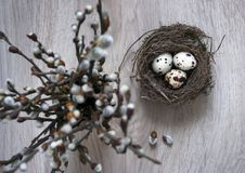 Auf einem Holztisch ist ein Nest mit Eiern und einem Vase mit Weidenniederlassungen Stockfoto