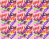 Auf einem rosa Hintergrund die Wortliebe geschrieben in verschiedene Farben vektor abbildung