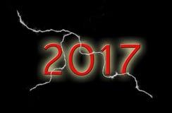 2017 auf einem schwarzen Hintergrund mit Blitz Stockbild