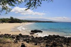 Auf einem Strand Sea Sand schaukelt Hawaii-Natur stockbilder