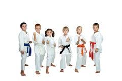 Auf einem weißen Hintergrund führen wenig sechs Athleten Karatetechniken durch stockbilder