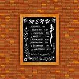 Auf einer Backsteinmauer in der Karikaturart, hängend in einem Rahmen auf einem blackb Lizenzfreies Stockbild