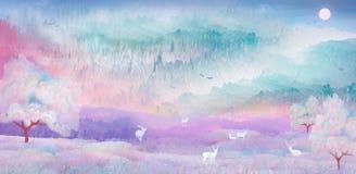 Auf einer schönen Nacht spielen Sikahirsche in der malerischen Landschaft unter den Kirschbäumen lizenzfreie abbildung