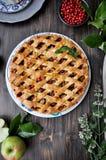 Auf einer Servierplatte, Apfelkuchen mit Teiggrill, frischen Äpfeln und Beeren lizenzfreie stockfotos