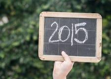 2015 auf einer Weinlesetafel Stockfoto