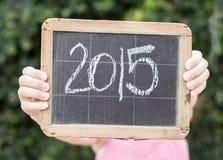 2015 auf einer Weinlesetafel Lizenzfreies Stockfoto