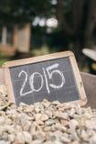 2015 auf einer Weinlesetafel Stockfotos