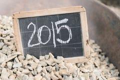 2015 auf einer Weinlesetafel Stockbild