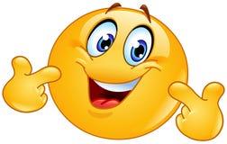Auf Emoticon zeigen Stockfoto