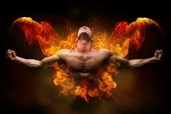 Auf Feuerbodybuilder Lizenzfreie Stockfotos