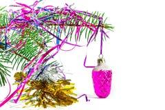 Auf Fichtenzweig Weihnachtsspielzeug Lizenzfreies Stockfoto