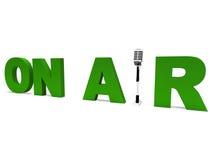Auf Flugschau-Rundfunkstudio oder Live Radio Stockbilder