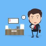 Auf grünem Hintergrund Geschäftsarbeit, Schreibtisch und Arbeitsplatz, Angestelltmann, Geschäftsmann, Arbeitsfluß und Arbeitsplat Stockfotografie