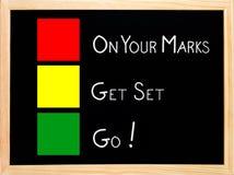 Auf Ihrer Markierung erhalten Sie Set, gehen auf Tafel Stockbild