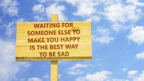 Auf jemand anderes warten, um Sie glücklich zu machen stock abbildung