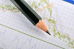 Auf lager Diagramm und Bleistift Stockbild