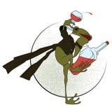 Auf lagerabbildung Frosch in einem Smoking, mit einem Glas und einer Flasche Lizenzfreie Stockfotos
