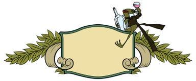 Auf lagerabbildung Frosch in einem Smoking, mit einem Glas und einer Flasche Lizenzfreie Stockbilder