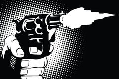 Auf lagerabbildung Hände von Leuten im Stil der Pop-Art und der alten Comics Waffe in der Hand stock abbildung