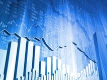 Auf lagerdaten mit Diagramm des Markt-3D Lizenzfreies Stockfoto