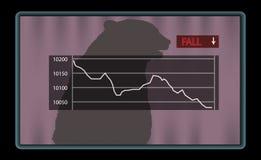 Auf lagerdiagramm mit rotem Fallschauzeichen Lizenzfreies Stockbild