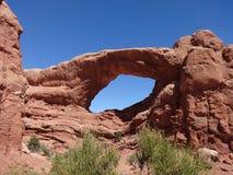 Auf lagerfoto der roten Felsen-Anordnung, Bogen-Nationalpark Stockbild