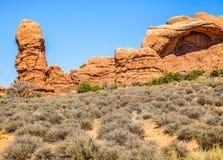 Auf lagerfoto der roten Felsen-Anordnung, Bogen-Nationalpark Stockfotos