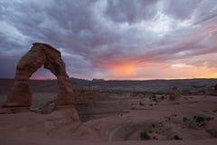Auf lagerfoto der roten Felsen-Anordnung, Bogen-Nationalpark Lizenzfreie Stockfotografie