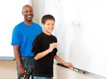 Auf lagerfoto des Lehrers und des Kursteilnehmers - Mathe Stockfoto