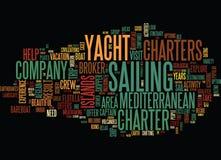 Auf Mittelmeeryacht zu besuchenden die Bereiche chartert Wort-Wolken-Konzept vektor abbildung