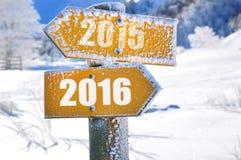 2015 -2016 auf Platte Stockbild