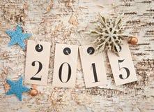 2015 auf rustikalem hölzernem Hintergrund Lizenzfreies Stockfoto