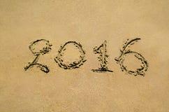 2016 auf Sand Lizenzfreie Stockfotos