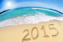 2015 auf Sandstrand Stockbilder