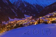 2018 auf Schnee an den Bergen - Solden Österreich Lizenzfreie Stockfotos