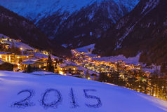 2015 auf Schnee an den Bergen - Solden Österreich Stockfotos