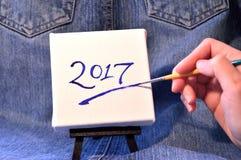 2017 auf Segeltuch Stockfoto