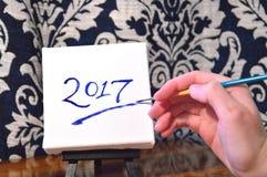 2017 auf Segeltuch Lizenzfreie Stockfotografie