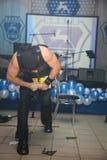 Auf Stadiumsdemonstration der russischen Ritter der Energieshow, Andrew Ledovskikh Stockfotos