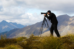 Auf Standort-Reise-Fotografen stockbilder