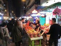 Auf-Straße Frucht-Stall in Mongkok, Hong Kong Stockfotos