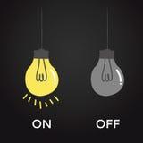 Auf und weg von der Birne elektrisch über schwarzem Hintergrund Stockbilder